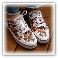 Декупаж обуви обрезками ткани