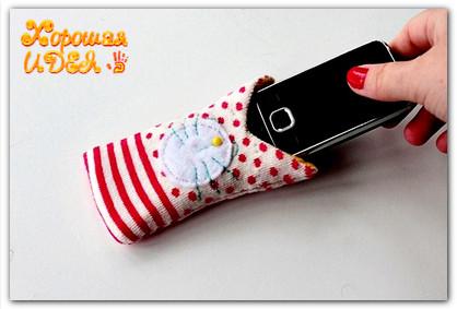 Как из носка сделать чехол для телефона