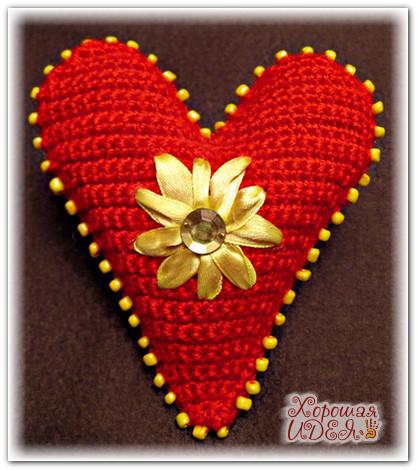 вязаные сердечки спицами