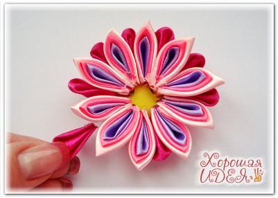 канзаши цветок из лент