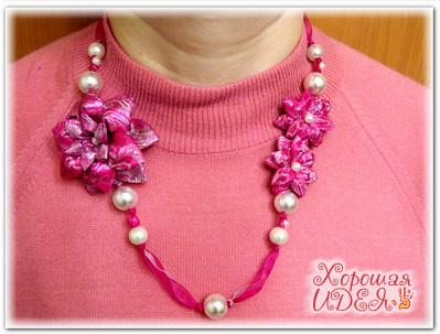 Колье канзаши Королева розовой весны36